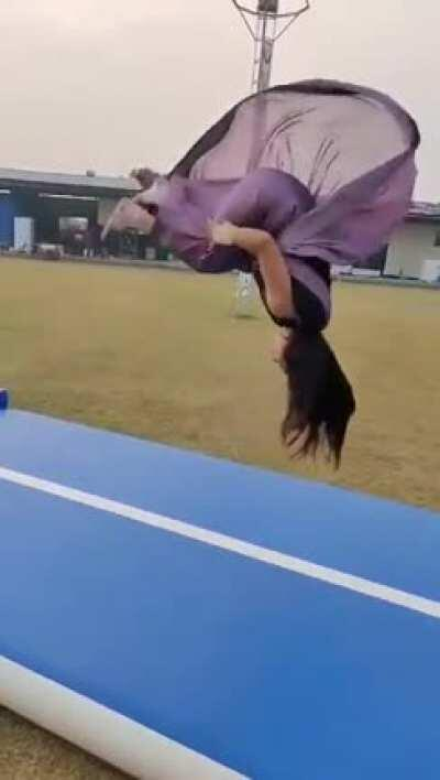 Triple Backflip in a Saree (indian traditional dress)