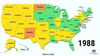 Самые популярные имена новорождённых девочек в США с 1950 по 2018г.