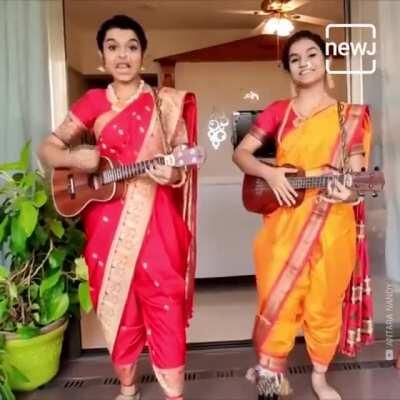 Lavni song (Reshamāchyā Reghańi) by two Assamese girls (Antra Nandi and Ankita Nandi)