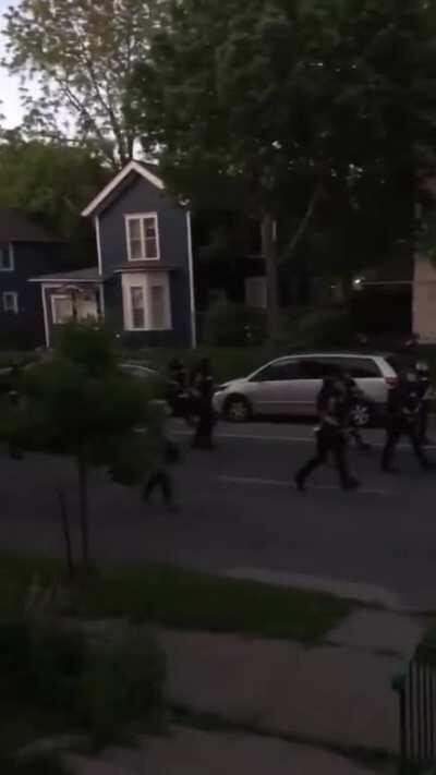 US Police and National Guard Patrolling US Neighborhoods with Humvees and Shooting Civilians on their own Property