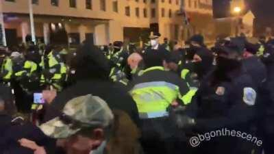 Trump supporters clash with Police in DC .