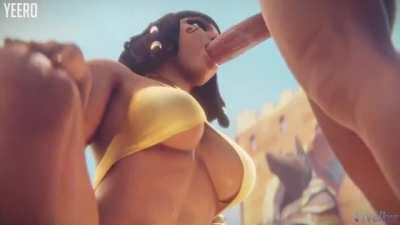 Pharah giving a blowjob