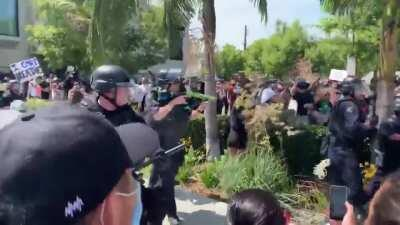 LAPD beats protesters who have their hands up