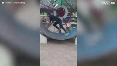 Painful fall in giant hamster wheel