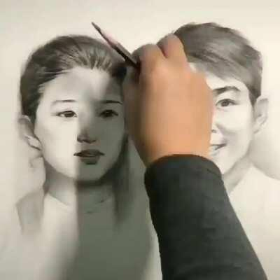 The way they continuously draw and transition the photo