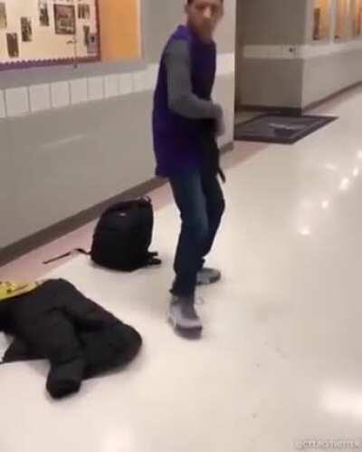 His classmate is a big WWE fan, so he got him a belt to wear