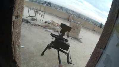 Free Idlib Army clears a building, kills an ATGM operator, then kills a guy hiding in the backyard in Khuwain, Idlib, Syria   11 January 2018