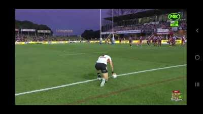 Adam Doueihi receives some friendly advice from the front row on the conversion