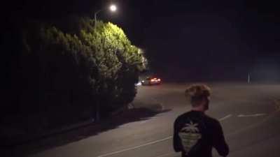 Professional Stunt driver has a near miss on a public road.