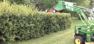 by far the best use of a lawnmower I have ever seen