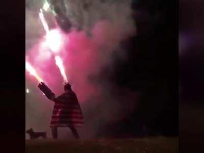 Wearing a fireworks suit