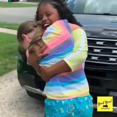 Two young best friends see each other for the first time in 3 months due to quarantine.