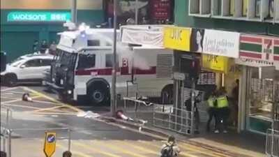 Multiple journalists shot to midair today in Hong Kong by water cannons
