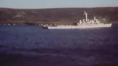Argentine aircraft attacking the British task force in San Carlos Bay (1982, Falklands War).
