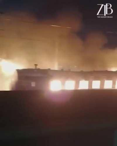 Just a train on fire passing through town