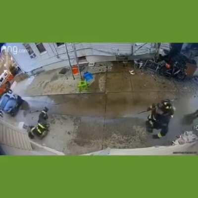 Firefighter gets hit with falling AC Unit