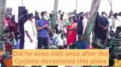 During Rahul's Puducherry visit, lady is angry at local government for not helping them during the cyclone, Puducherry CM translates it to Rahul as - We are helping