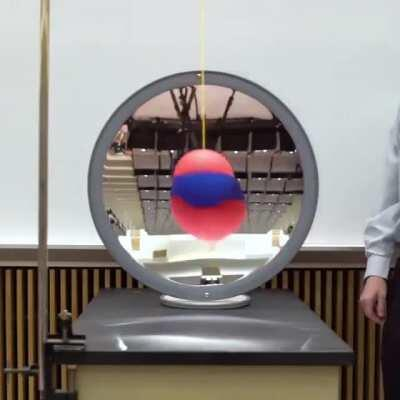 A Ball Swinging in Front of a Concave Mirror, Highlighting the Inversion of an Image when an Object Passes the Mirror's Focal Point. (More Info in the Comments)
