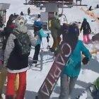 A new way of unloading people from the ski lift