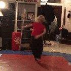 Girl has some impressive bow staff skill