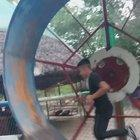 WCGW Trying to run on a giant hamster wheel