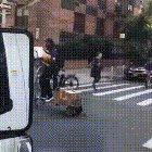Scooting through his day job