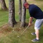 Golf Shot Between Trees